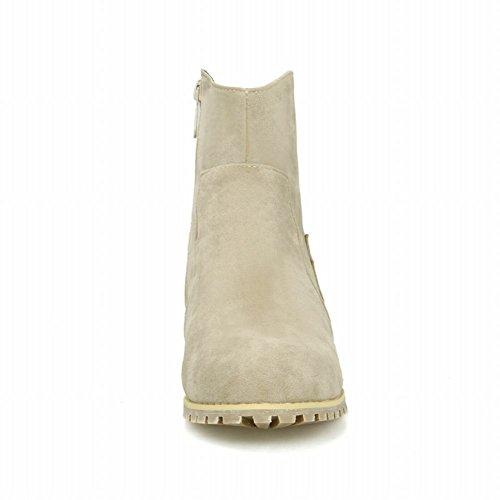 Latasa Womens Vintage In Nabuk Con Cerniera Grosso Tacco Alto Alla Caviglia E Stivali Western Beige