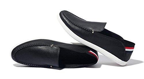 Happyshop (tm) Mens Casual Läder Moccasin Körning Sko Sunmer Slip-on Loafers Svart