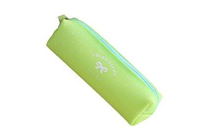 NOVAGO-Estuche escolar - estuche para làpiz de gel de silicona serie del caramelo en colores pastel (Verde Fluo)