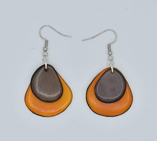 Tagua Nut Earrings in Orange and Gray