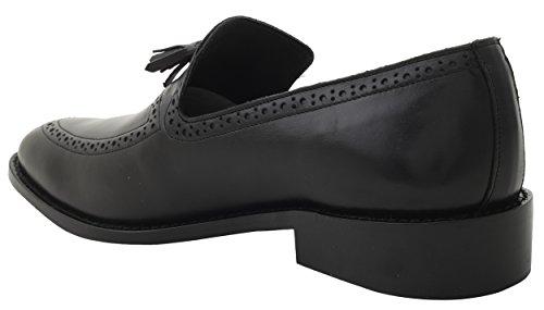 La Liberté Des Hommes De Main En Cuir Pompon Mocassin Enfiler Chaussures Habillées En Noir