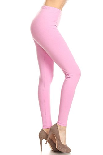 Leggings Depot Women's Premium Quality Ultra Soft Cotton Spandex Glitter Leggings (Small, Rose)