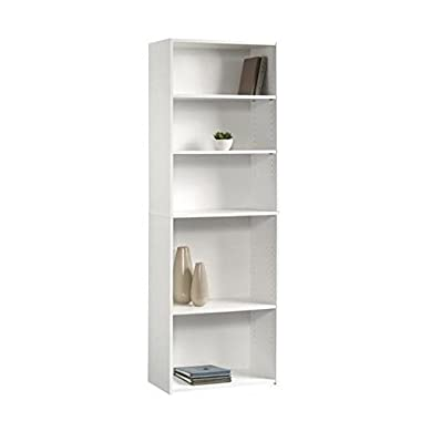 Sauder Beginnings 5-Shelf Bookcase, Soft White