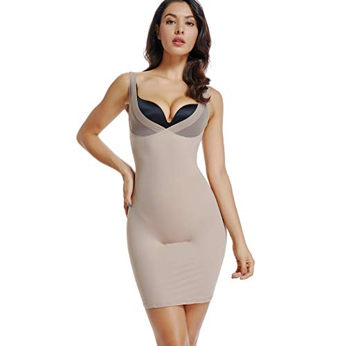 (Full Slips for Women Under Dresses Long Body Shaping Control Slip Slimming V Neck Slip (Beige-Control Slip, M))