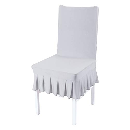 uxcell Dining Chair Covers,Ruffled Skirt Stool Slipcover Stretch Spandex Chair Protectors Short Kitchen Chair Seat Cover for Home Dining Room Party - Slipcover Dining Ruffled Chair