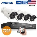 Sannce® 4CH 960P PoE NVR CCTV Camera System with 4x 1.3MP Indoor/Outdoor Fixed Surveillance Cameras, QR Code Scan Easy Setup, IP66 Weatherproof Metal Housing, Quick Remote Access( No HDD)
