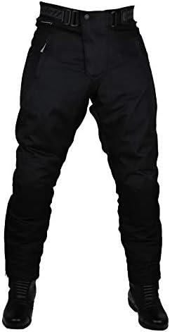 Schwarze Motorradhose mit herausnehmbarem Thermofutter, Protektoren und Weitenverstellung, für Sommer und Winter, auch in Kurz- und Übergrößen