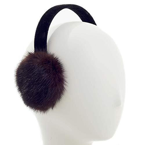 Surell Mink Fur Earmuff with Velvet Band, Ear Warmer, Winter Fashion (Brown)