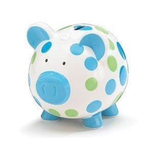 Dashing Dots Collection Blue and Green Polka Dot Piggy Bank Adorable Baby/Toddler Gift
