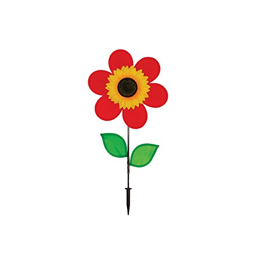In the Breeze 12 Inch Red Sunflower Wind Spinner with Leaves - (Breeze Leaf)