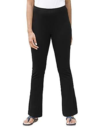 Ulla Popken Plus Size Stretch Knit Yoga Pants - Black, 28/30