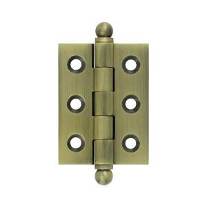 """Deltana CH2015 2"""" x 1-1/2"""" Solid Brass Cabinet Hinge with Ball Tip Finials, Antique Brass"""