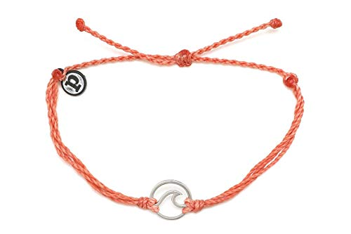 Pura Vida Silver Wave OG Salmon Bracelet - Silver Plated Charm, Adjustable...