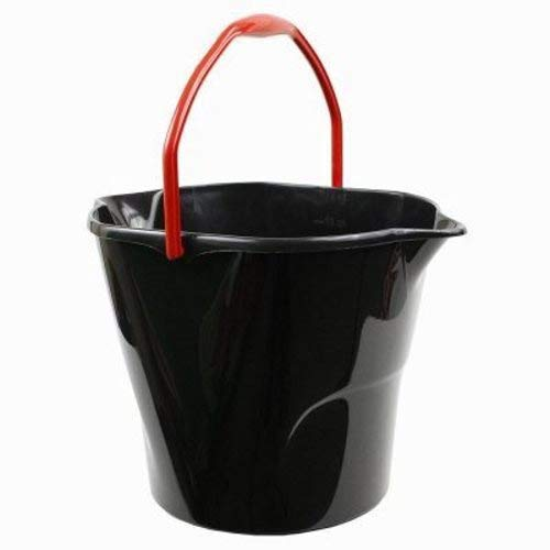 Utility Round Bucket - Libman Commercial 517 Round Utility Bucket, Polypropylene, 3 Gallon, Black (Pack of 6)