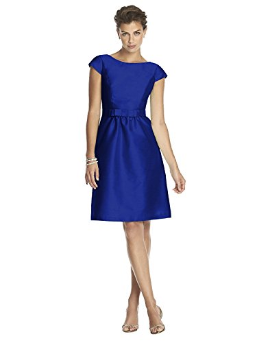 Alfred Sung Womens Cocktail Length Dupioni Bateau Neck Dress With