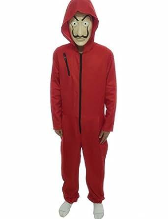 Angelaicos Unisex Dali Mask Red Costume for La Casa De Papel Coverall Jumpsuits (XS, Full Set)