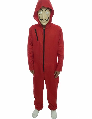 Angelaicos Unisex Dali Mask Red Costume for La Casa De Papel Coverall Jumpsuits (L, Full -