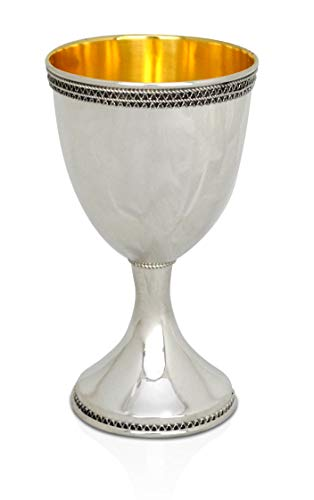 Jewish wedding gift kiddush cup 925 sterling silver Yamenite filigree design Judaica gift egg shape handmade wine goblet by Nadav Art (Kiddush Cup Sterling Silver)
