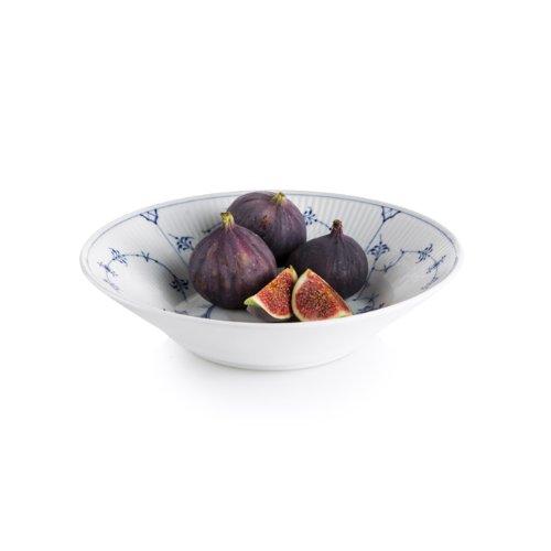 Blue Fluted Plain Pasta Bowl
