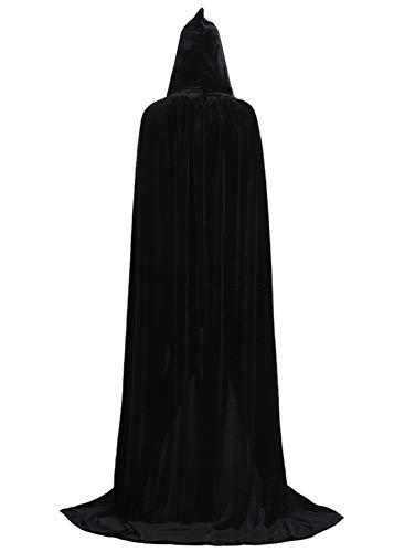 ALIZIWAY Hooded Cloak Full Long Velvet Cape for Halloween Cosplay Costume Cloak Black 07BXXL]()