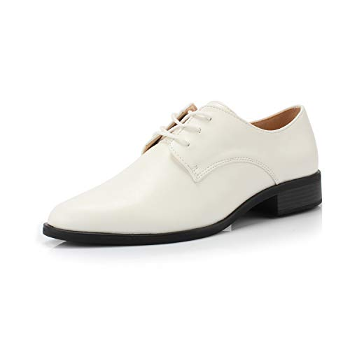 (FOOTSELF DUNION Bonita Women's Classic Comfortable Brogue Low Heels Casual Oxford Daily Shoe,Bonita White,8 M US)