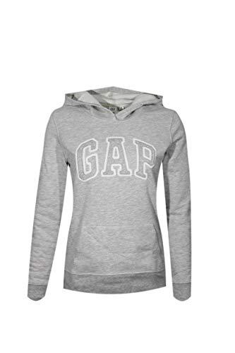 GAP Womens Fleece Arch Logo Full Zip Hoodie (Light Grey, Medium)