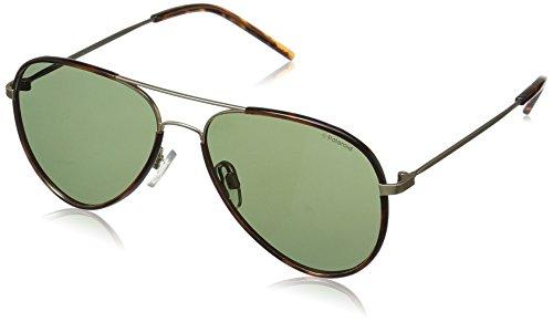 Polaroid Sunglasses Pld1020s Aviator Sunglasses, SEMI MATTE GOLD/GREEN POLARIZED, 56 ()