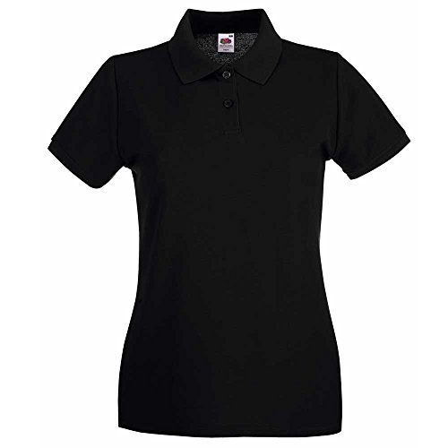 Fruit of the Loom Lady Fit Premium Colours Short Sleeve Cotton Polo Shirt Black
