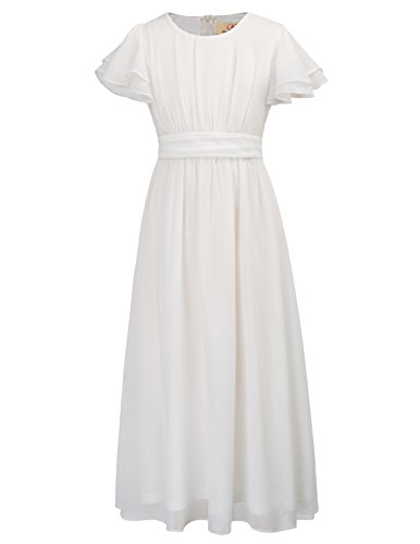 GRACE KARIN Short Sleeve Solid Chiffon Dresses for Girls 8yrs CL703-1 White]()