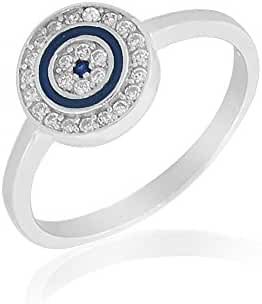 925 Sterling Silver White Clear CZ Blue Enamel Evil Eye Protection Ring Band