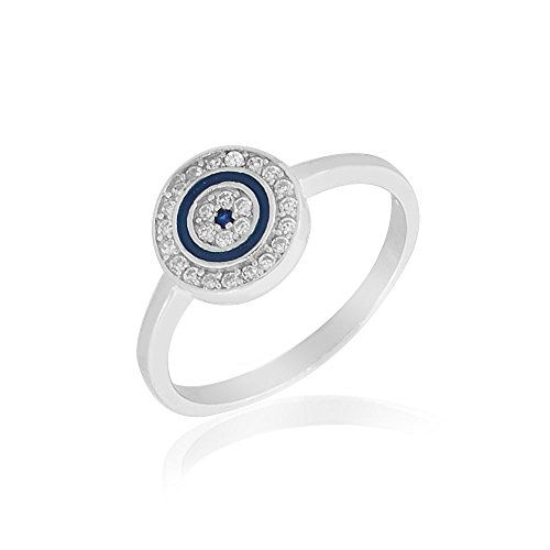925 Sterling Silver White Clear CZ Blue Enamel Evil Eye Protection Ring Band - Size 8 by My Daily Styles
