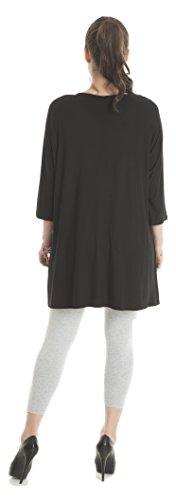 Tunika Schwarz verziert mit Steinen im Blumen Muster, Designer Freizeit Tunika für Damen - auch große Größen / Übergrößen