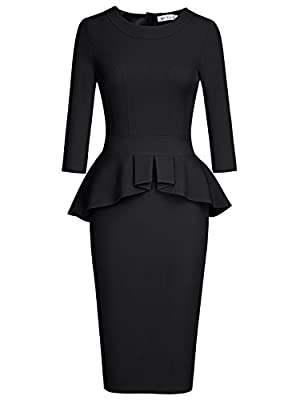 MUXXN Women's Crew Neck Peplum Knee Length Party Pencil Dress