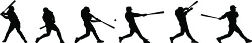 Epic Designs Baseball Player Batting Sequence Silhouette Wall Sticker Wall Decor Removable and Repositionable Wall Decal Wall Mural