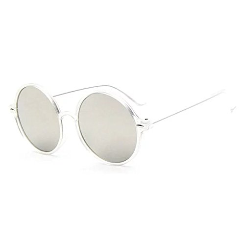 Brendacosmetic New Fashion round frame Reflective Sunglasses,Bright Color Film Mirror Flat Lens Polarised Casual Sunglasses for - Beckham Sunglasses Victoria Oversized