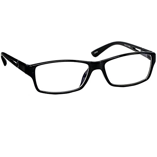 Black Computer Reading Glasses 1.50 _ Protect Your Eyes Against (Light Blue Gold Rim)
