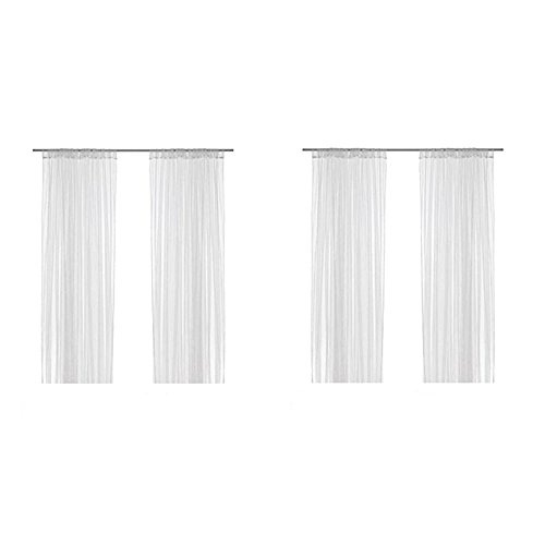 Ikea Lill Sheer Curtains 4 Panels 98 X 110 (2 Curtain Pairs, White) (Curtains Material For Best Outdoor)