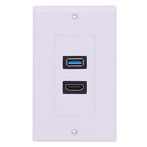 HDMI USB 3.0 Wall Plate, Yeworth 1 Port HDMI Female + 1 Port USB Female Video Component Composite Audio Video Wall Face Connector Plate Panel Outlet Socket (1-Gang 1USB+1HDMI) (Plate Usb Hdmi Wall)