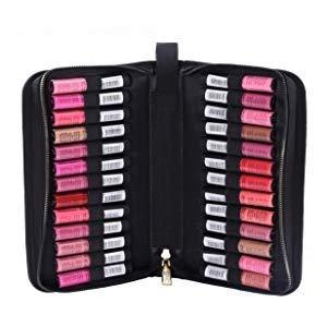 ROWNYEON Lipstick Tester Case Lipstick Makeup Bag Makeup Case Lipstick Lip Gloss Organizer Portable Lipstick Stock Case Holder Organizer with Handle Strap 26 Slots Black