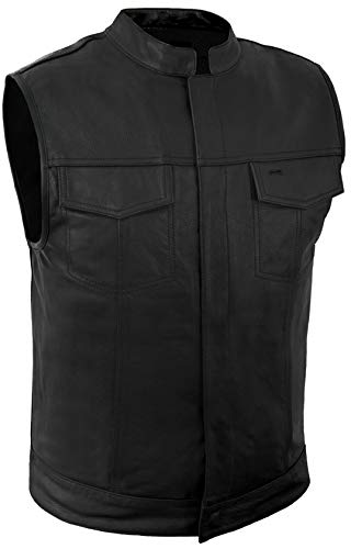 True Element Mens Scooter Collar SOA Style Leather Motorcycle Club Vest (Black, Large)