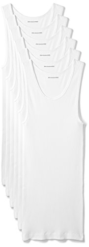 Amazon Essentials Men's 6-Pack Tank Undershirts, White, Large 1x1 Rib V-neck Top