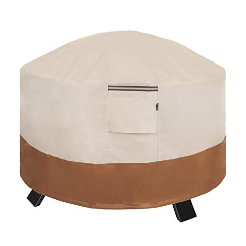 SONGMICS Fire Pit Cover, 30 x 12 Inches (Dia. x H) Round Patio Fire Pit Protective Cover for Outdoor Garden, Waterproof and Anti-Fade UGPC76EC