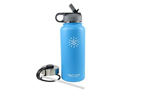 Smart Flask, Stainless Steel Vacuum Insulated water bottle, Includes Straw Lid and Stainless Steel Lid, 32 Oz., (Blue)
