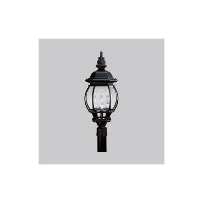 Onion Post Lantern with Clear Beveled Glass in Black