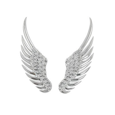 uxcell® Car Silver Tone Alloy Angel Wings Badge Stickers 2 Pcs