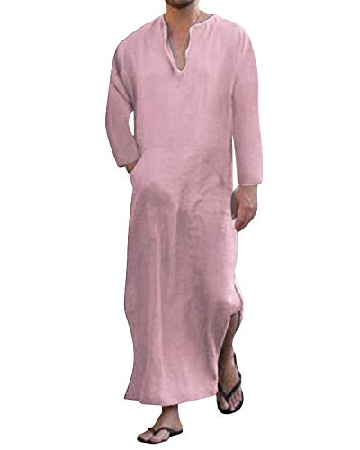Jacansi Mens Casual Kaftan Cotton V Neck Long Gown Long Sleeve Long Thobe Pink #1 3XL ()