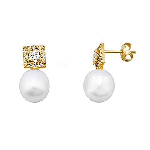 Boucled'oreille 18k or 8.5mm perle. zircone Table cultivée [AA5816]