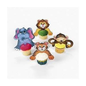 Fun Express FX 70/7501- Zoo Animal Character Cupcake Picks (2-Pack of 24)