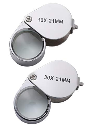 2pc Jewelers Eye Loupe Set 10X and 30X Magnifying Glass