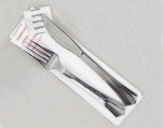 Reflections Plastic Fork, Knife, Salt, Pepper and Napkin Kit, Silver (125-Count)